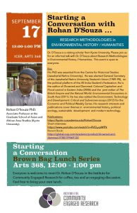 Sept.17.19 – Starting a Conversation with Dr. Rahon D'Souza –
